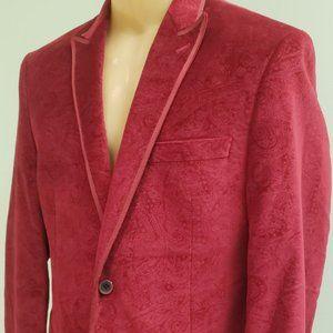 men's red paisley velveteen dinner jacket 40R